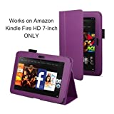 "Slim Fit Leather Standing Case for Kindle Fire HD 7-Inch Tablet (will only fit Kindle Fire HD 7"") (Purple)"