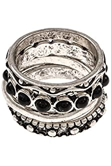 buy Glitz Finery Gemstone Accent 4 Piece Ornate Detailed Ring Set (Burnished Silver/Black)