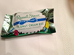 Russell Stover Coconut Cream Easter egg, covered in Dark Chocolate, 1 ounce egg (Pack of 18) from Russell Stover