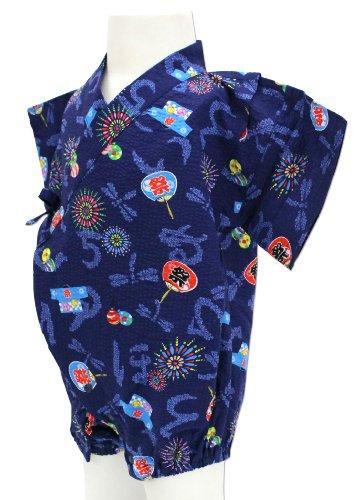 祭・花火柄 紺色 ロンパース甚平 グレコ [70サイズ] 綿100% 日本製 真夏のルームウェア&夏祭りはコレで決まり!