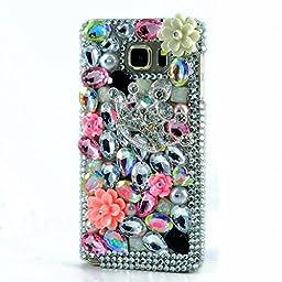 Samsung Galaxy S7 Edge Case, Sense-TE Luxurious Crystal 3D Handmade Sparkle Diamond Rhinestone Clear Cover with Retro Bowknot Anti Dust Plug - Silver Crown Flowers