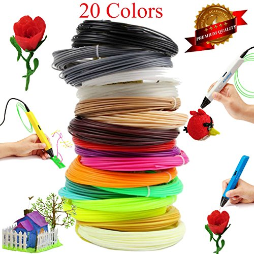 3D Printing Pen Filament Refills - 1.75mm ABS Plastic 328 Linear Feet Pack of 20 Different Colors 16.4 feet each, Included 2 Glow in the Dark. Each Color in a Separate Vacuum sealed pack for easy use (3 Set Of Draws compare prices)