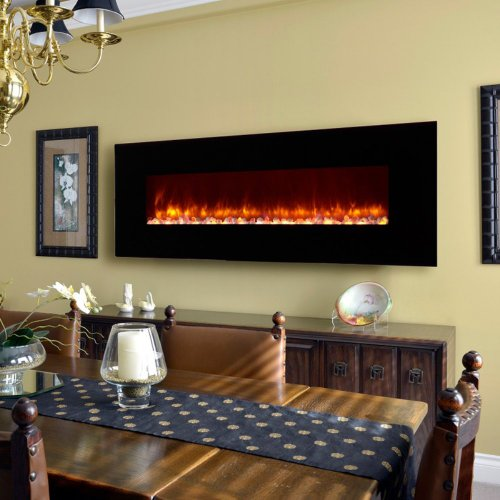 Dynasty Dynasty Contemporary Electric Fireplace Led Wall Mount - 70 In., Black, Pebble Bed