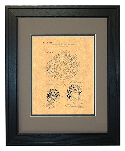 "Camouflaging Covering For Military Helmets Patent Art Print in a Solid Pine Wood Frame with a Double Mat (11"" x 14"")"