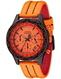 DETOMASO Herrenuhr Quarz Edelstahlgehäuse Lederarmband Mineralglas FIRENZE Chronograph Trend orange/orange SL1624C-OR