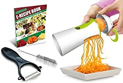 Spiral Slicer Spiralizer Complete Bundle - Vegetable Cutter - Zucchini Pasta Noodle Spaghetti Maker