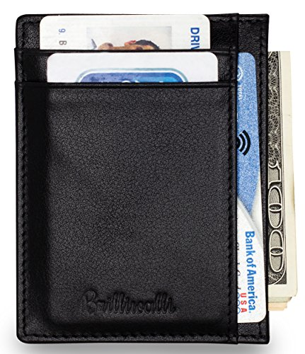 Slim RFID Blocking Front Pocket Wallet Genuine Leather Card Holder Money Clip (Stainless Steel Wallett compare prices)
