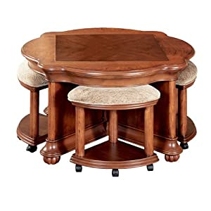 Powell wilmington cherry cocktail table and 4 for Cocktail table with 4 benches