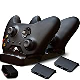 Ortz® Xbox One Controller Charger + FREE AC Wall Charger Adapter & 2x Rechargeable Batteries - Charging Base for 2x Controllers - Play and Charge Kit System - Dual Dock Charging Station - Best Accessories, Top Quality - LIFETIME GUARANTEE