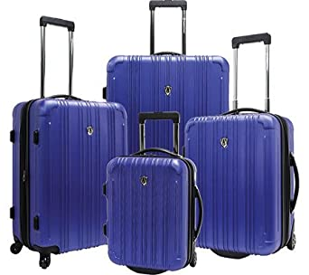 New Luxembourg 4 Piece Expandable Hardsided Luggage Set Color: Blue