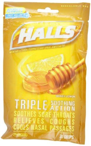 Halls Drops, Honey-Lemon, 30-Count Drops