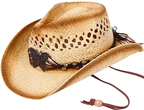 [Simplicity Boys Girls Straw Hat Beaded Band Western Cowboy Hat, KST-005] (Farmers Dress Up Costumes)
