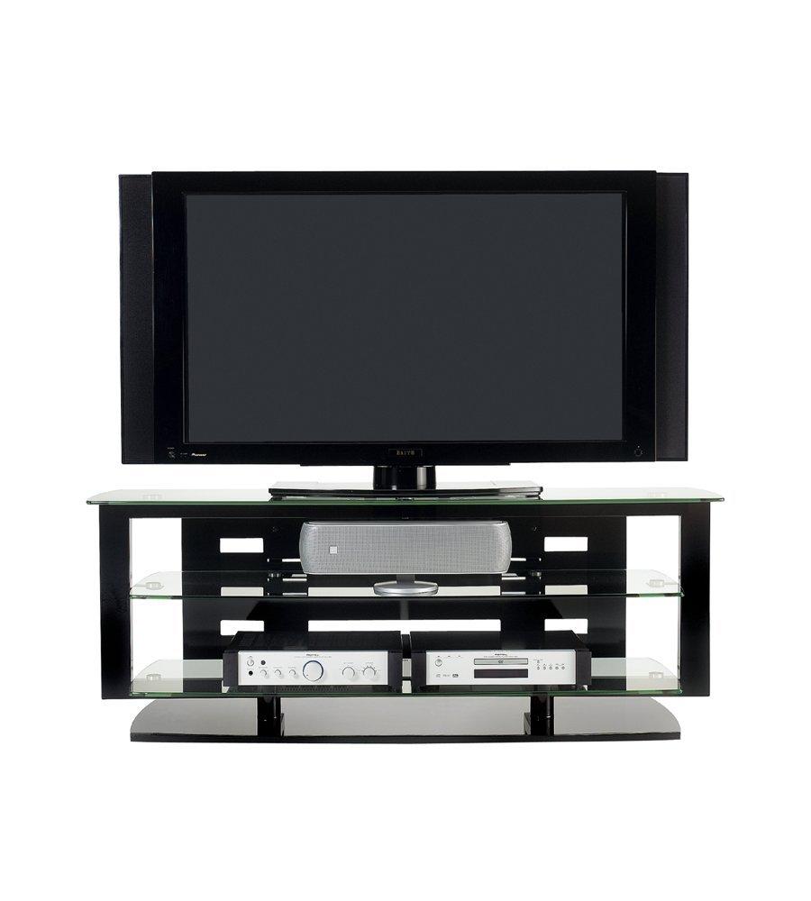 Tv Stand Black Bdi Icon 9429 Triple Wide Open Tv Stand Gloss Black