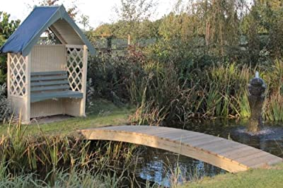 Curved Wooden Garden Bridge for Ponds and Streams OGD093