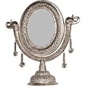Rajasthan Craft Art Aluminum Antique Oval Carving Stand Mirror (43.18 Cm X 30 Cm X 45.72 Cm, Silver)