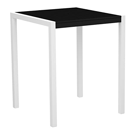 "POLYWOOD 8102-13BL MOD 36"" Bar Table, Satin White/Black"