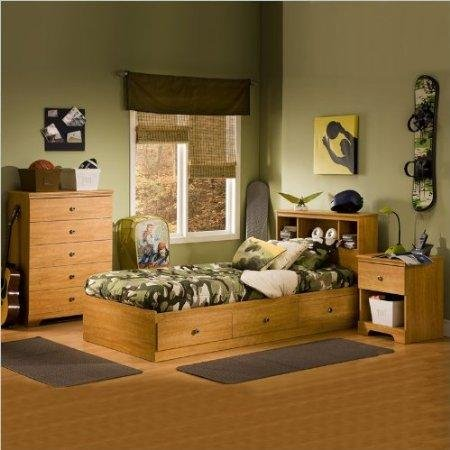 Cheap South Shore Brinley Kids Twin Wood Captain's Bed 4 Piece Bedroom Set in Florence Maple (3575-PKG)