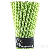 Biodegradable Paper Drinking Straws (Premium Quality), Pack of 100, Chervon - Lime