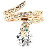 FC JORY Rose Gold Plated Snake CZ Crystal Cocktail Ring (6.5)