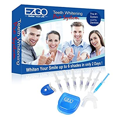 EZGO Home Professional Teeth Whitening Kit 6 XL Whitening Gel, Remineralization Gel with Light, Mouth Tray and Gel Applicator-Teeth Whitening Kit 60 Treatments, Great Gift Idea