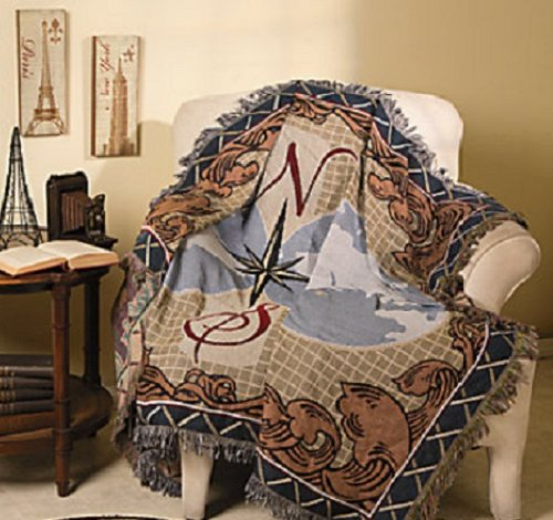 "Stunning Nautical Tapestry Throw Blanket Fringed Edges 50""X60"" front-915889"