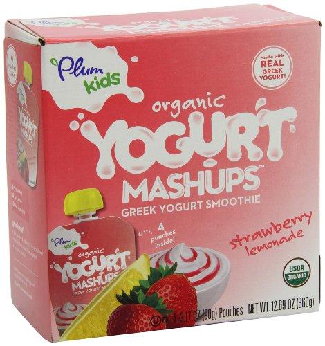 Plum Kids Organic Greek Yogurt Mashups Strawberry Lemonade 4 Count Pack of 6