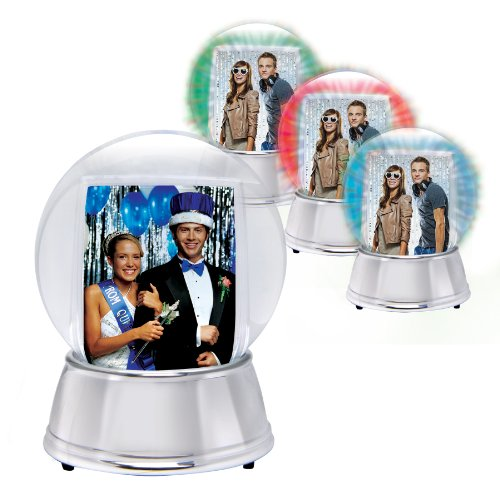 LED Light Up Photo Snow Globe (Silver, Large)