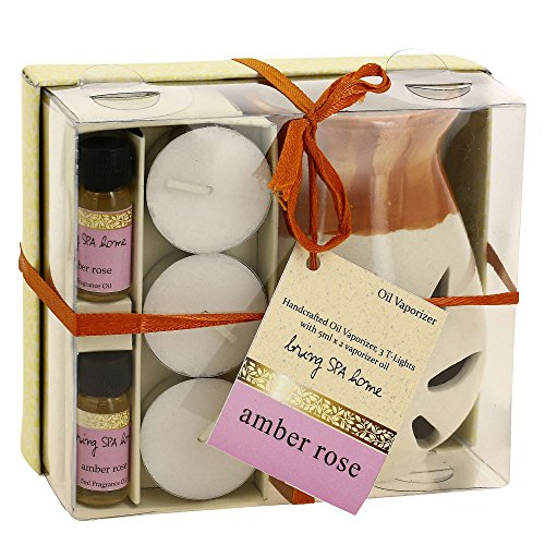Indian Amber Rose Fragrance Gift Set with Pair of 10mL Fragrance Oils, 3 Tealight Candles and a Handcrafted Ceramic Burner Vaporizer - Use for Air Freshener, Aromatherapy or Ayurveda