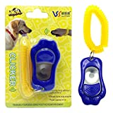 Ortz® Dog Training Clicker - Obedience for Bark Control Sound - Button Pointer clicks to Train Dog - Best Pet Trainer Kit to Learn Fast and Reward - Blue - FREE 1 YEAR WARRANTY