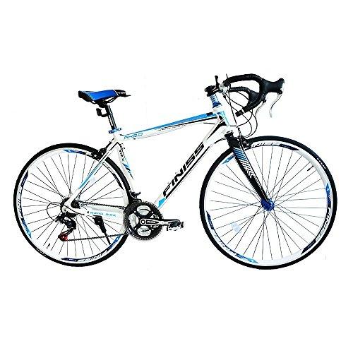 SHINEWOOD(シャインウッド) 自転車 700C ロードバイク アルミフレーム シマノ 21段変速 フレームバッグ付 (ホワイト&ブルー)