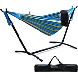 Zeny® Double Hammock With Space Saving Steel Hammock Stand Includes Portable Carrying Case, Blue & Green Stripe