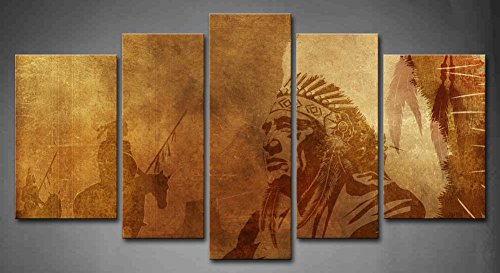 5 Panel Wall Art Brown Native American Chief Worriors On Horses Painting The Picture Print On Canvas People Pictures For Home Decor Decoration Gift piece (Stretched By Wooden Frame,Ready To Hang) (American Paintings compare prices)