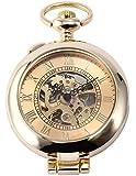 Luxury Retro Gold Skeleton Dial Mens Steampunk Mechanical Pendant Pocket Watch WPK129
