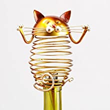 Decobreeze Home Holiday Decoration Figurine Metal Wine Bottle Stopper - Cat