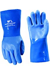 Wells Lamont 174L Heavy Duty PVC Supported Glove with Gauntlet Cuff, Blue, Large