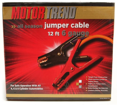 Motor Trend MTA612-CCA 12-Foot Jumper Cables with Extended Clamps, 500-AMP