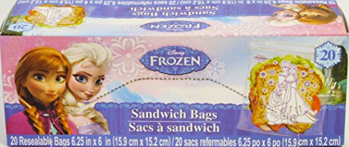 Disney Frozen Theme Resealable Sandwich Bags Size 6.25 in X 6 in (20 Count, 2 Pack)