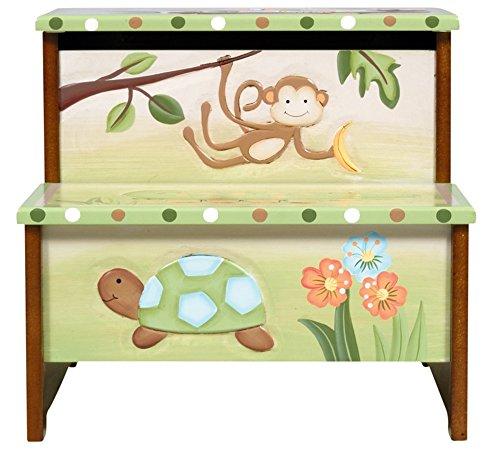 Coffre de rangement en bois, motifs animaux de la jungle, 34.93 x 33.02 x 30.48 cm -PEGANE-