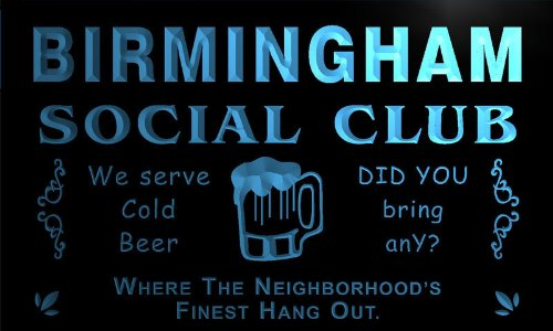 Pz2147-B Birmingham Social Club Neighborhood Hang Out Bar Beer Neon Light Sign