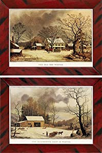 Currier & Ives Winter Farm Prints - Set of 2