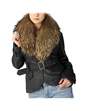 Jessie%20G.%20Womens%20Belted%20Lambskin%20Leather%20Jacket%20with%20Raccoon%20Fur%20Collar