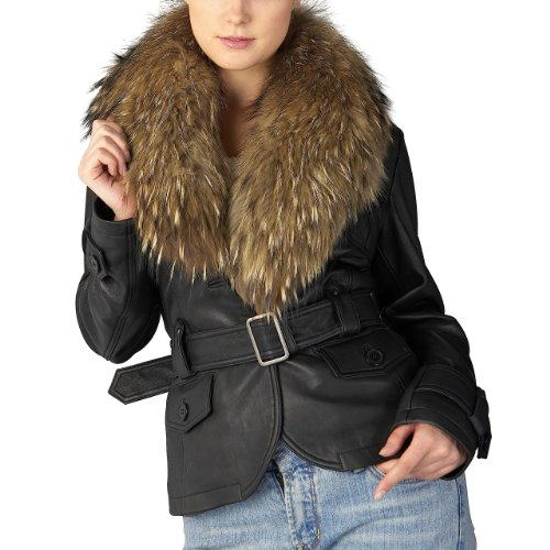 Jessie G. Women's Belted New Zealand Lambskin Leather Jacket with Raccoon Fur Collar - Black M