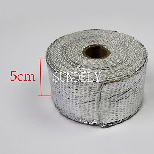 SUNDELY® Silver Color Glassfiber Exhaust Pipe Header Heat Wrap Resistant Downpipe Tape Roll 2in X 16ft (5cm X 5m) + 5 Metal Ties 2