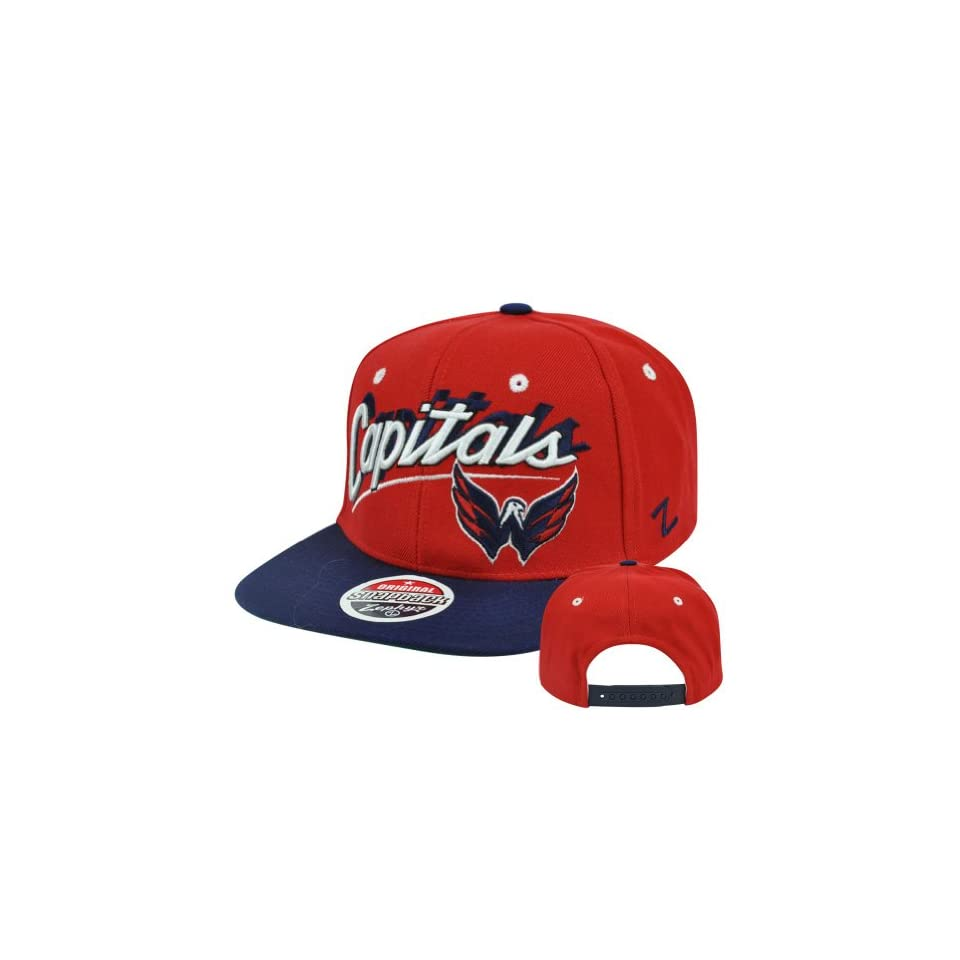 8b23c1f60d0 NHL Washington Capitals Zephyr Shadow Script Adjustable Snapback Flat Bill  Hat