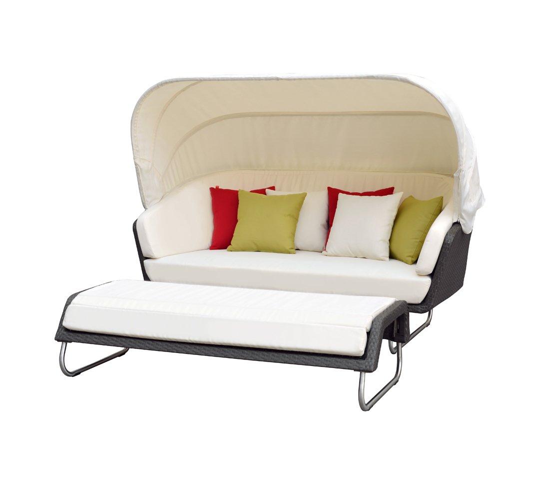 Dehner Sunlounger Aruba mit Hocker, Lounge ca. 190 x 86 x 100 cm, Hocker ca. 160 x 60 x 36 cm, Polyrattan, grau bestellen