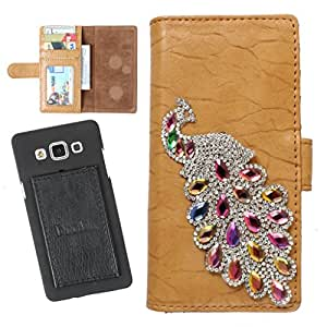 DooDa PU Leather Wallet Flip Case Cover With Rhinestone Peacock in Front And Card & ID Slots For LG Magna - Back Cover Not Included Peel And Paste