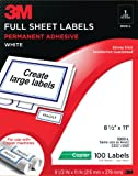 3M Full Sheet Copier Labels for  Copier/Laser Printers, White, 8 1/2 x 11 Inches, 100 Sheets per Pack (3000-L)