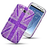 SAMSUNG GALAXY S3 SIII UNION JACK DIAMANTE DISCO BLING BACK COVER BY CELLAPOD CASES PURPLEby CELLAPOD