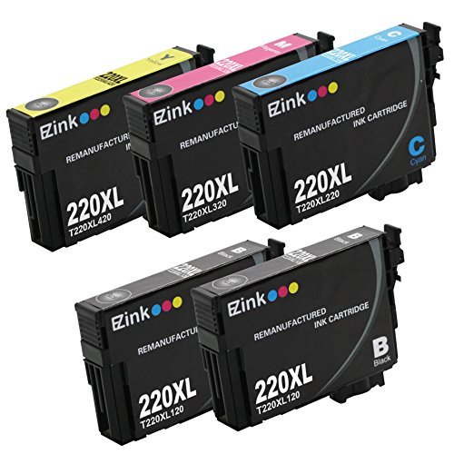 E-Z Ink (TM) Remanufactured Ink Cartridge Replacement for Epson 220XL 220 XL High Capacity (2 Black, 1 Cyan, 1 Magenta, 1 Yellow) 5 Pack Compatible with XP-320 XP-420 XP-424 WF-2630 WF-2650 WF-2660