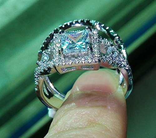 Weewoo Dazzling Topaz Simulated Diamond 925 Silver Cross engagement Wedding Band Ring Set Sz 5-10 (7)